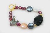 pbr468 Freshwater Multicolor Coin & Biwa Pearl Bracelet with Agate Bead