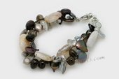 pbr469 Freshwater Pearl Bracelet with Agate & Smoky Quartz