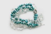 pbr473 Freshwater Pearl Bracelet with 6-7mm Blue Dacning Pearls, with Crystal