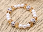 pbr476 Newest Design Freshwater Pearl&Crystal Stretchy Bracelet