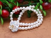 Pbr479 Double Rows Potato Pearl Stretch Bracelet with Flower Zircon