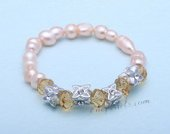 pbr480 Charming Freshwater Twins Pearl Stretchy Bracelet with Crystal