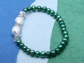 pbr483 Charming Green Potato Pearl Stretchy Bracelet with Crystal