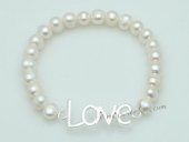 "pbr486 Potato Pearl Beads with  ""Love"" charm StretchyBracelet"