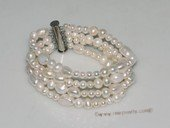 pbr497 Cultured Pearl Multi-Strand Bracelet With with4-5mm potato pearl