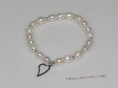 pbr498  stretchy freshwater rice pearl bracelet with sterling silver heart charm tag