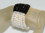 pbr499  multi-strand cuff white potato pearl with man made crystal stretch bracelet