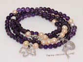 pbr503 Pink Freshwater Pearl with 6mm Amethyst Beads Neckalce