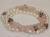 pbr506 White Freshwater Pearl Bracelet with 8mm rose quartz  Beads