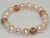 pbr519 Freshwater Pearl Elastic Bracelet with Gold Toned Fitting