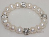 pbr520 Freshwater Pearl Elastic Bracelet with Silver Toned Fitting