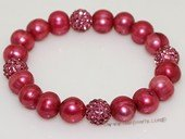 pbr521 Wine Red Freshwater  Pearl Elastic Bracelet with Silver Toned Fitting