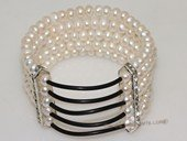 pbr522 multi-strand cuff 6-7mm freshwater button pearl stretch bracelet