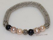 pbr523 Mesh tube shape stretch bracelet with multi color potato pearl