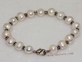 pbr526  Freshwater Potato pearl bracelet with silver tone fitting