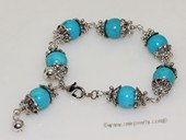 pbr529 Fashion  Blue Turquoise Bracelet With  Silver Tone Fitting