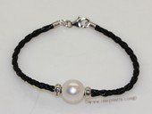 pbr530 Black Thread Cord  11-12mm Freshwater  Whorl Pearl Bracelet