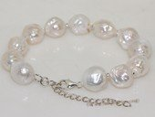 pbr537   12-13mm white freshwater nucleated pearl bracelet