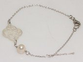 pbr540  Simple and elegant  freshwater  pearl sterling silver chain bracelet