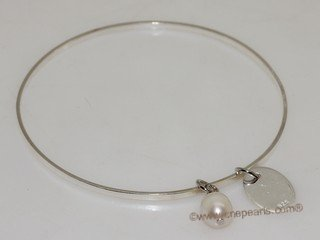 pbr543   Freshwater Pearl Sterling Silver Circle Bangle Bracelet