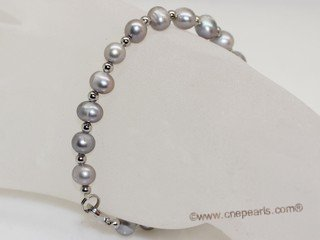 pbr568  Freshwater Potato pearl bracelet with silver tone fitting