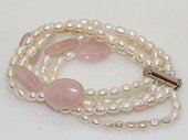 pbr572 Five strand white cultured pearl and  rose quartz bracelet