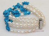 pbr573 Five strand white cultured pearl and  blue turquoise bracelet