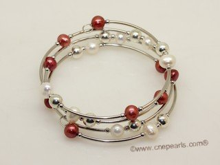 pbr576 fashion 6-7mm potato pearl bracelet  with silver tone pipe