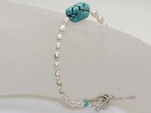pbr577   Freshwater rice pearl bracelet with  green turquoise beads