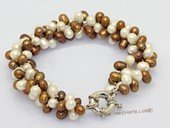 pbr587 Three strand white and coffee cultured pearl bracelet