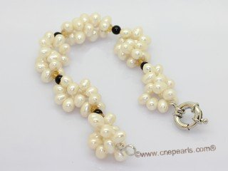 pbr588 White side-drilled pearl and agate beads bracelet