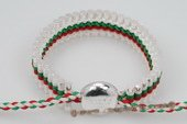 Pdbr019 Fancy Woven Colorful Silver Toned Bar Friendship Bracelet