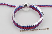 Pdbr021 Covered Multicolor Braided& Silver Toned Bar Friendship Bracelet