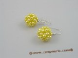 pe002  14mm ball shape yellow  freshwater pearl dangling earring with 925silver hook