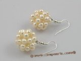pe011  18mm ball shape white freshwater pearl dangle earring