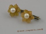 pe012 Adorable 5.5-6mm pearls set on yellow stone flowers tray with silver CLIP  Earrings
