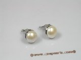 pe042 Silver 12mm white bread pear clip earrings