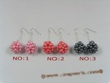 pe044 Sterling 16mm seed pearl ball design dangle earring