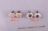 pe049 wholesale Sterling 9mm cluster flower seed pearl stud earring in multicolor