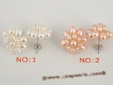 pe050 wholesale Sterling 16mm cluster flower seed pearl stud earring in low price