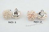 pe056 Plated silver 3-4mm seed pearl cluster flower Clip Earring in wholesale