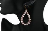 Pe059 Purple potato pearl loop Designer gilded 925silver dangle Earrings