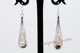 Pe073 Multicolor Potato Pearl Silver Toned Mesh Dangle Earrings