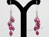 Pe075 Elegant 4-5mm Rice Shape Pearl Dangle Earrings
