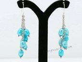 Pe076 Fashion 4-5mm Rice Shape Pearl Dangle Earrings in Blue color