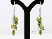 Pe077 Hand Crafted 4-5mm Oliver Green Color Rice Shape Pearl Dangle Earrings