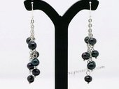Pe078 Classic 4-5mm Black Cultured Potato Pearl Dangle Earrings
