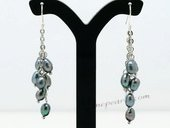 Pe079 Amazing Dangle Earrings with 4-5mm Grey Rice Pearl