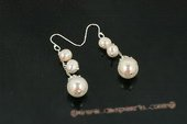 spe356 Delightful 925silver potato pearl and shell pearl dangle earrings