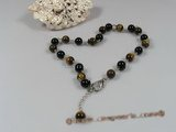 petc015  Elegant 8mm tiger eyes gemstone and black agate  pet necklace